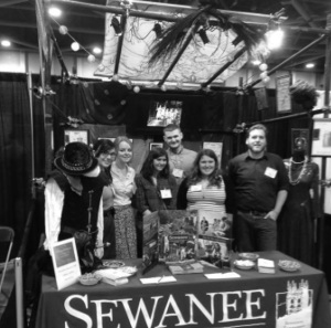 (From left) Stage Manager, Mary Morrison (C'15); Director, Beckett Scott (C'14); Fanny, Pagie Wilson (C'14);  Technical Director, John Marshall (C'07); Sarah Weldon (C'14); Scenic and Lighting Designer, Andy Philpo (C'14).