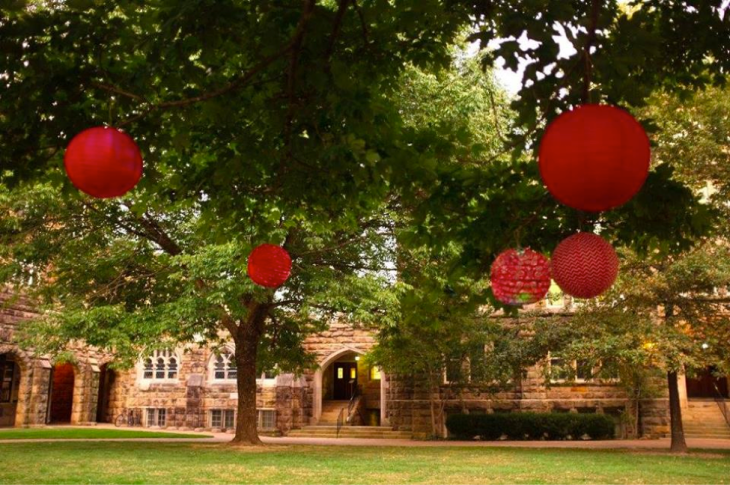 Lanterns are hung in the Quad for the Moon Festival