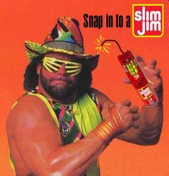 """An old """"Snap into a Slim Jim"""" advertisement"""